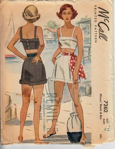 835f9ee31c6 1940s Playsuit Pattern McCALL 7262 Misses  Shorts and Bra Bra Pattern