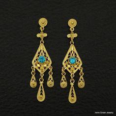 BLUE TOPAZ CZ FILIGREE STYLE 925 STERLING SILVER 22K GOLD PLATED GREEK EARRINGS #IreneGreekJewelry #DropDangle