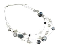 Iridescent Gray Shell CCB & Faceted Crystal Bead Necklace $12.50