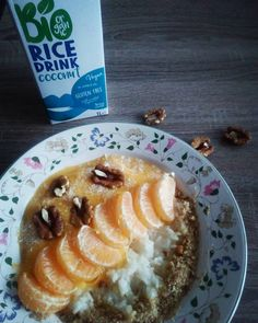 "36 Likes, 3 Comments - Klaudia Klembarová (@__.klaudi.__) on Instagram: ""Upgraded recipe. #sweetrice with #mandarine #smoothie #walnut #coconut #ricemilk #vegan…"""