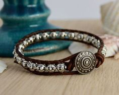 Metal bead bracelet. Rustic leather wrap bracelet -Made to order-