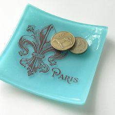 We'll always have Paris - Fleur de Lis  - Decorative Glass Dish on Etsy, $36.00
