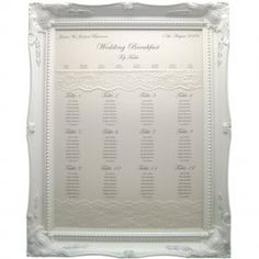 large frame seating chart White Frame, Navy Blue Print with lace