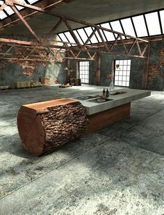 unique one off oak concrete kitchen werkhaus 2 Inspired Tree Trunk Kitchen by Werkhaus Concrete Furniture, Furniture Design, Diy Furniture, Interior Architecture, Interior And Exterior, Concrete Kitchen, Concrete Backyard, Concrete Slab, Küchen Design