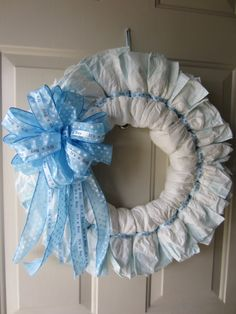 Blue Polka Dot Baby Boy Diaper Wreath by TowerDoorDecor on Etsy, $35.00