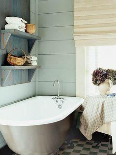Cozy Bathroom from My Home Ideas. Cozy Bathroom, Simple Bathroom, Bathroom Colors, Bathroom Interior, Bathroom Shelves, Bathroom Wall, Bath Shelf, Bathroom Laundry, Kitchen Interior