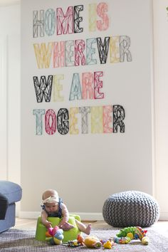 The Deco Soul: DIY: Letras en la pared con lana
