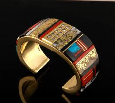 Artist: Edison Cummings, Title: 18k Gold Bracelet with Diamonds, Coral, Turquoise, and Gold Quartz - click for larger image