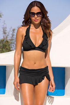 Side-tie skirted hipster bikini bottom