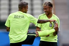 neymar and dani alves preparing for #worldcup