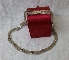 Vintage Halsschmuck - Antikes 925 Silber-Collier Sodalith 50iger SK527 - ein…
