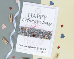 Happy Anniversary gift card which includes a funny quote and a beautiful Liberty of London bracelet. Perfect for gifting to the special person in your life, this gift is sure to be very well received. The Liberty of London bracelet will arrive beautifully wrapped round the card and includes a matching envelope, ready for gifting. A truly unique and beautifully presented gift that will bring joy and smiles to whoever you gift it to, even yourself!