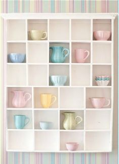 pastel creamers and mugs in cubby shelves Soft Colors, Pastel Colors, Colours, Pastel Pink, Minty House, Rachel House, Pastel Home Decor, Pastel Photography, Cubbies