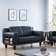 Introducing this unique loveseat with shelving. This modern loveseat is equipped with two seats, providing a comfortable seating arrangement. Featuring tall armrests, pocket coil cushions, and shelves on each side, this loveseat will provide a perfect addition to your living room.