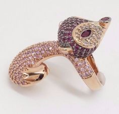 ROSE-GOLD-925-STERLING-268-GEMS-4-53TCW-CZ-FOX-RING-RARE-ANIMAL-DESIGN-Sz-7