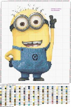 Minions Minions, Minion Pattern, Disney Cross Stitch Patterns, Rug Hooking Patterns, Despicable Me, Cross Stitching, Projects To Try, Embroidery, My Favorite Things