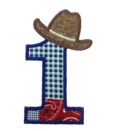 Cowboy Hat Applique Birthday Numbers by RivermillEmbroidery, $3.95