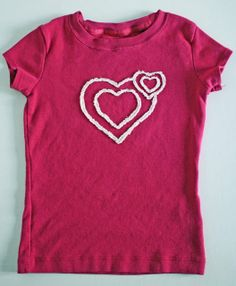 Frayed Cutout Applique Tshirt Tutorial - I like the heart design...but this would be cute to do monograms or other designs.