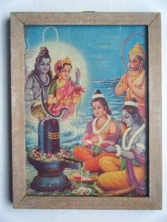 Rama Lakshman Hanuman Shiva Parvati Ramayana Old Print in Old Wooden Frame #2273 #Collectible