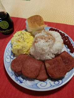 Spam eggs and rice in Hawaii. Don't knock it til you try it!
