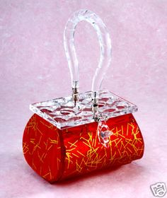 Lucite Handbag Purse 1950s style Atomic Red by Deluree - avail on eBay <3<3<3GORGEOUS RED & GOLD W' CLEAR TOP & HANDLE<3<3<3 @