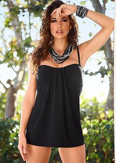 Swim dress, high waist moderate bottom, neclace