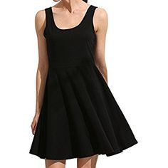 ROMWE Women's Summer Beach Cotton Sleeveless Flared A Line Swing Tank Dress Black M Black Tank Dress, Beach Casual, Summer Beach, Romwe, Kendall, Kylie, Casual Dresses, Cotton, Amazon