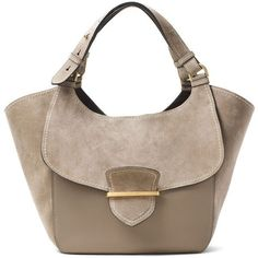 Michael Kors Collection Josie Large Suede & Leather Shopper Tote Bag ($1,635) ❤ liked on Polyvore featuring bags, handbags, tote bags, dark taupe, suede totes, zippered tote bag, brown shoulder bag, michael kors handbags and shopper tote