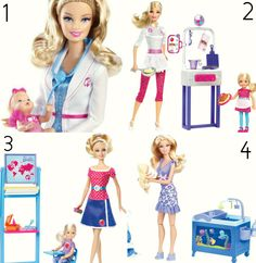 1: Barbie Baby Doctor 2: Barbie Pancake Chef 3: Barbie Teacher Doll 4: Barbie Baby Sitter
