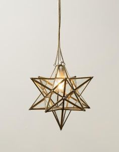 STAR lamp - glass and brass fitting 3D star