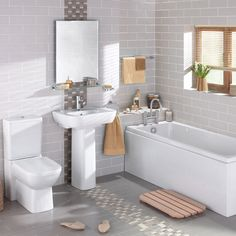 I think the stripe of a different tile would be a good way to incorporate some color into the bathroom