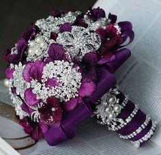 Vintage Bridal Brooch Bouquet - Pearl Rhinestone Crystal - Silver Amethyst Dark Purple One Day RUSH ORDER Available - BB024LX on Etsy, $100.00