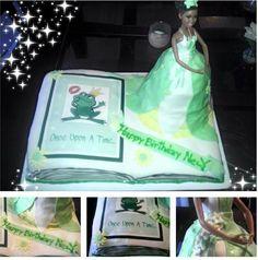 Open book cake, doll cake, princess tiana cake