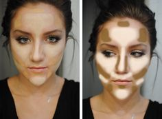 ~ Contouring and highlighting using two shades of liquid foundation... one skintone and a lighter one for highlighting, then blend and use bronzer or blush.  Great tips.