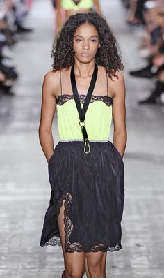 A model walks the runway at the Alexander Wang Spring Summer 2017 fashion show during New York Fashion Week