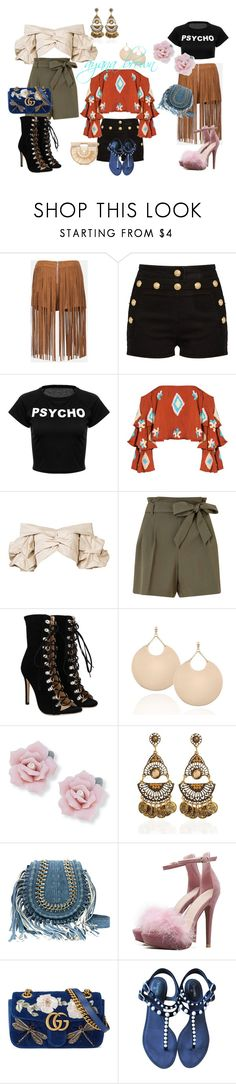 """""""all different kinds!!!!!!!!!!!!!!!!!!!!!!!!!!!!!!!!!"""" by ayanabrown on Polyvore featuring Sans Souci, Balmain, Mochi, Johanna Ortiz, Miss Selfridge, Palm Beach Jewelry, Gucci, Chanel and Cult Gaia"""