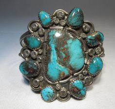 ESTATE Navajo Johnny Mike Begay Large Turquoise Cluster Bracelet AMAZING! C484 | Jewelry & Watches, Ethnic, Regional & Tribal, Native American | eBay!