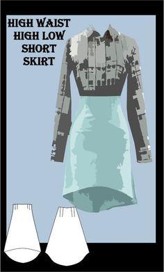 High Waist High Low Skirt Sewing Pattern
