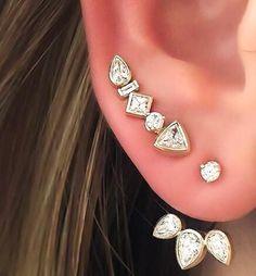 gold Geometric earrings-ear cuff-gold stud cartilage ear climber diamond ear cuff earing #earcuff #lilianaskye