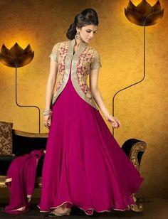 Pink long anarkali with jacket@vedika gajjar