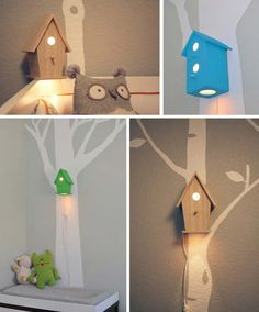 Decorate the wall with painted tree and fun birdhouse lamp | 26 Cute Ideas To Add Fun To a Child Room