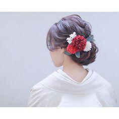Graduation Hairstyles, Bride Hairstyles, Hair Arrange, Japanese Hairstyle, Wedding Preparation, Flowers In Hair, Bridal Hair, Wedding Photos, Hair Makeup