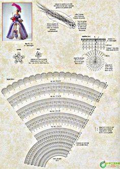 """Схема вязания крючком платья для Барби """"Мадам Помпадур"""" ч. 1"""
