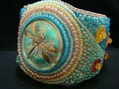 Dragonflies in my Garden Bead Embroidered Cuff by josjewels1, $170.00