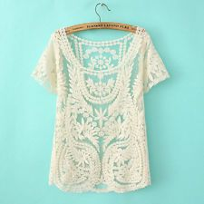 Floral Sheer Embroidery Lace Crochet T-Shirt Vest Top Blouse Sexy Women Ladies