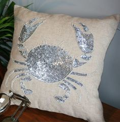 "Plumeria Coastal Home ""Pinchy"" pillow"
