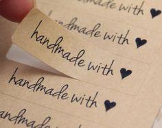 Modern Free Spirit Script Font HANDMADE WITH LOVE Heart Rectangle Brown Kraft Sticker Labels Seals 1/2 x 1 3/4 inch