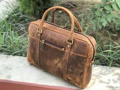 31d88df22a5a3 15 inches Brown Genuine Vintage Leather Laptop Bag