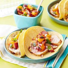 Lean pork tenderloin pairs nicely with grilled peaches and fresh, citrusy cilantro in this Mexican-inspired taco recipe. Peach Salsa Recipes, Slow Cooked Pork, Pork Cutlets, Pork Tacos, Grilled Peaches, Diabetic Living, Lean Protein, High Protein, Recipe Directions