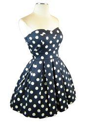 strapless polka dot dress <3 <3 <3